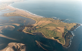 aerial picture of holy island