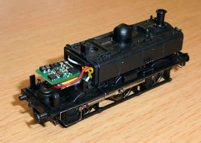 Dapol Pannier tank with cab removed showing DCC decoder