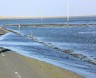 holy island causeway starting to flood at high tide
