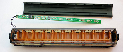 Collett coach with roof removed showing Dapol light bar