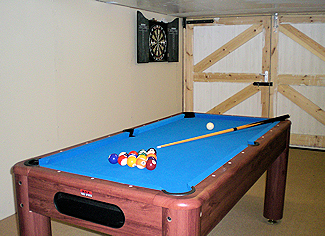 pool table and darts board