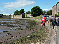 royal mail post van falls into River Tweed as hand brake left off