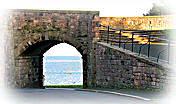 The sea viewed through Ness Gate arch in Berwick's Elizabethan Walls