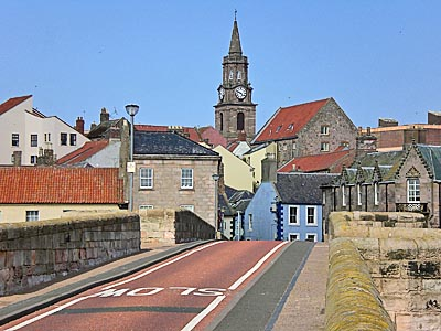 view from Berwick's old bridge looking at the Town Hall